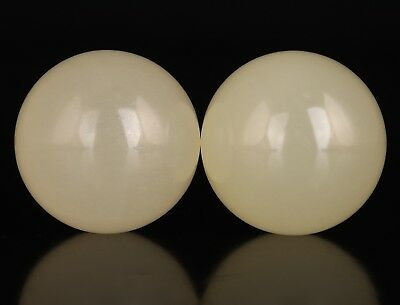 2 Rare Chinese Real Jade Massage Tool Ball Rolling Acupuncture Health