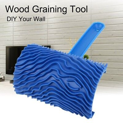Rubber Wood Graining Pattern Wall Painting Decoration DIY Tool Blue X4H7