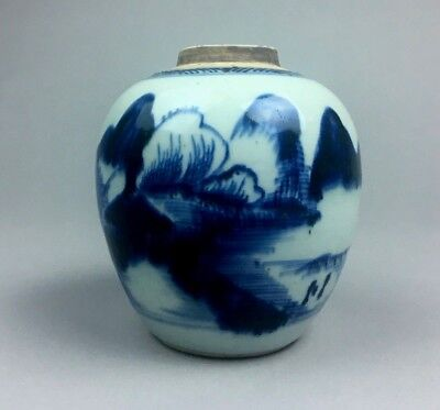 Antique 19 C. Chinese Blue & White Porcelain Jar Marked.
