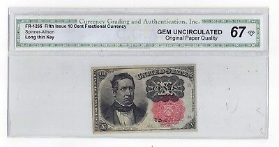 Fr-1265 1874 United States Fifth Issue Ten Cent Fractional Curency Long Thin Key