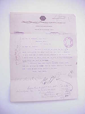 RARE! 1911 Cane Island Route Jonesboro Lake City Eastern Railroad Co Letterhead