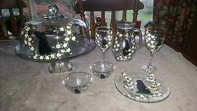 Newfoundland Dog Glass Collection: Covered Cake Plate, Pitcher, Wineglasses and