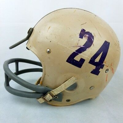 Vintage Football Helmet Youth 1970s Number 24 Little League Purple Yellow