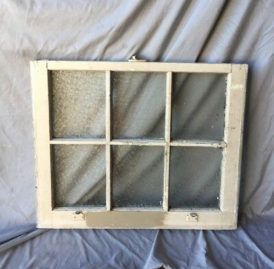 Antique 6 Lite Florentine Privacy Glass Window Sash 24x29 Old Vtg 218-18C