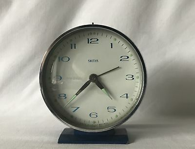 Vintage Working Smiths Metal Cased Wind Up Alarm Clock with Glowing Hands