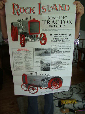 C 1930 Rock Island Model F Tractor Booklet / Poster