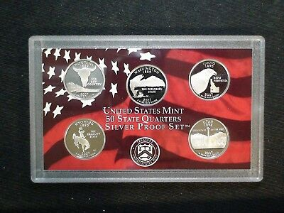 2007 SILVER Washington Quarter FIVE GEM COIN PROOF SET 25C Coins IN MINT HOLDER!