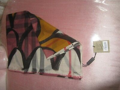 Burberry Dusty Pink Graphic Scallop Silk Scarf In Great Used Condition with Tag
