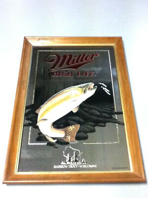 Miller high life beer mirror sign bar Wildlife series Rainbow trout 5th old KP4
