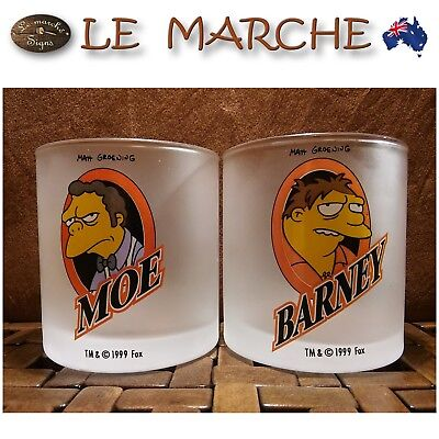 VERY RARE Collectors SIMPSONS Moe & Barney Frosted GLASSES Tumblers AS NEW