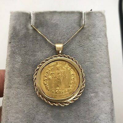 Antique Ancient byzantine gold coin Anastasius Solidus victory pendant rope 14k