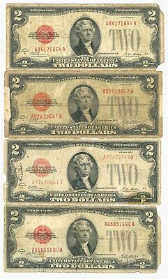 Fr. 1502 $2 Lot of 4 1928A Legal Tender US Notes With Problems