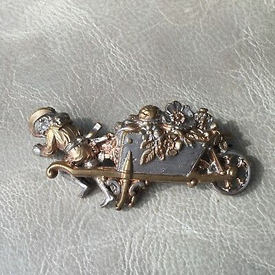Splendide Broche Ancienne 1900 Enfant avec Brouette Antique French Brooch