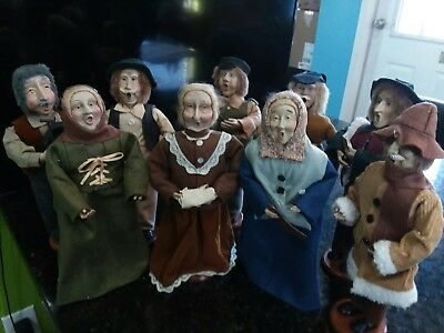 LOT OF 9 VINTAGE CHRISTMAS CAROLERS~MEN~WOMEN.  MOUTH OPEN 10 to 12 inches tall.