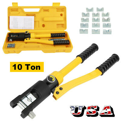 10 Ton Hydraulic Crimper Crimping Tool/w 14 Dies Wire Battery Cable Lug Terminal