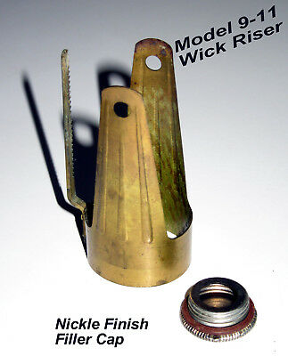 Aladdin Model 9-11 Wick Riser and Nickle Filler Cap~Kerosene Parts~ A+ Condition