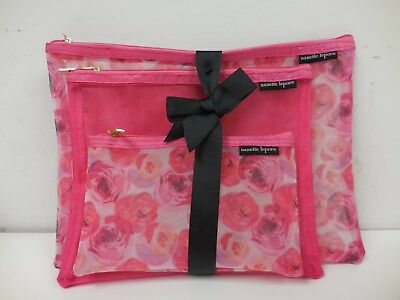 Nanette LEPORE 3pc set Beauty Cosmetic Case Travel Pouch Bags NEW Pink Roses