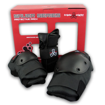 Triple Eight Skate Saver Series 3-Pack Wrist Guards, Knee & Elbow Pads, SIZE JR