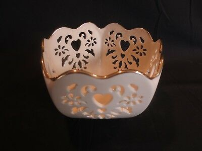 LENOX Eternal Hearts Collection 6 Inch Pierced Hearts Round (Pentagon) Bowl EUC
