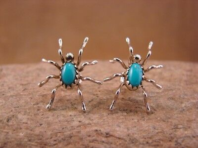 Navajo Indian Jewelry Sterling Silver Turquoise Spider Post Earrings by Mitchell