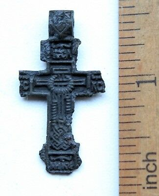 Ancient Old Bronze Golgotha Tsata Cross (DEC03)