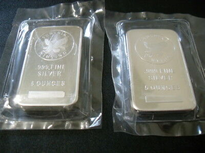 Lot of Sunshine Mint 5 ounce .999 Silver Bars , 10 oz silver Total