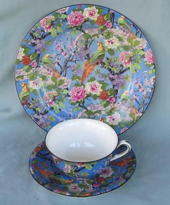 Crown Ducal Blue Chintz Trio Cup & Saucer & Plate Black Trim Exotic Birds