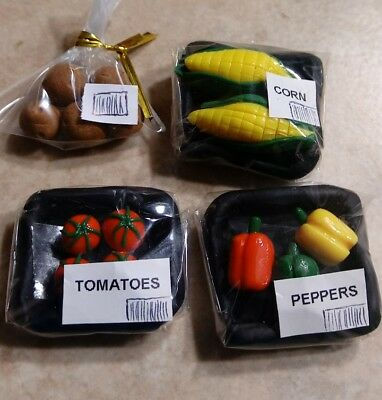 Dollhouse Miniature Wrapped Vegetable Set Clay Food Corn Tomatoes Resealable