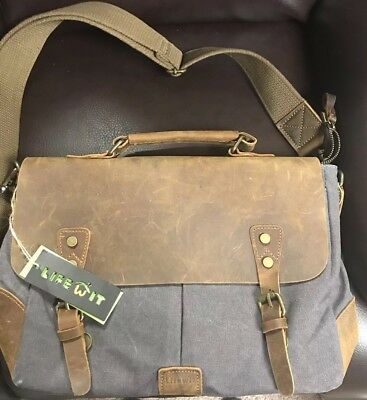 9abf25318a1e ... Lifewit 15.6-17.3 Mens Messenger Bag Vintage Canvas Leather Military  Shoulder Laptop Bags LF210809GY new ...