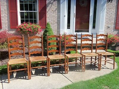6 Vintage Matching Maple TELL CITY CHAIR CO Ladder-back Rush-Seat--ALL 6 CHAIRS