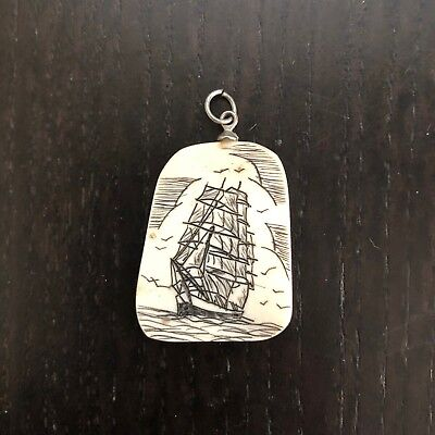 Vintage Carved Art Faux Scrimshaw Pendant Charm Whaling Ship Boat Nautical