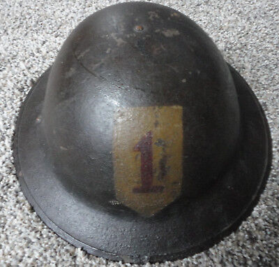WWI US Army AEF M1917 Helmet Shell with Hand Painted 1st Infantry Division Patch