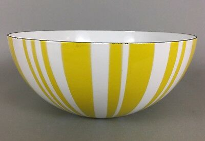 "Cathrineholm Norway Yellow Striped Enamelware Bowl 9.5"" Wide Mid Century Modern"