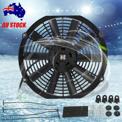 12'' 12V Car Slim Push Radiator Thermo Electric Cooling Fan w/Mounting kits