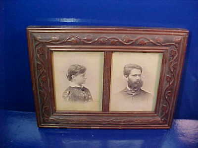 1880s CARVED WOOD Double PANEL Cabinet Card PICTURE FRAME