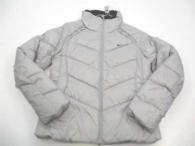 NIKE #K3904 Women's Size S Zip Up Warm Duck Down Silver Gray Puffer Jacket