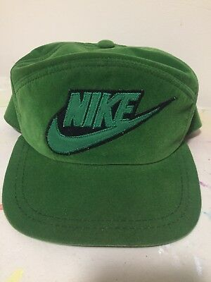 80s Rare Green Velvet SnapBack Nike Shoe Trucker Hat Cap Boston Irish Oregon Bay