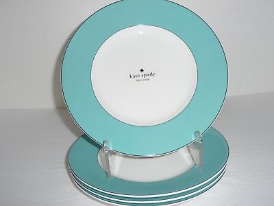 Kate Spade LENOX *Rutherford Circle* Turquoise Salad Plates Set of 4 New w/ Tag
