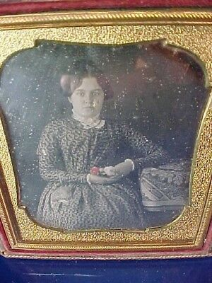 19thc DAGUERREOTYPE Cased PHOTO w YOUNG WOMAN Holding COLORED ROSES