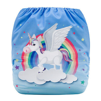 Modern Cloth Reusable Washable Baby Nappy Diaper & Insert Flying Rainbow Unicorn