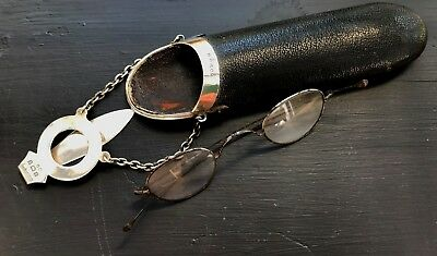 Antique Hallmarked 1902 Silver Chatelaine Spectacles case with eyeglasses.