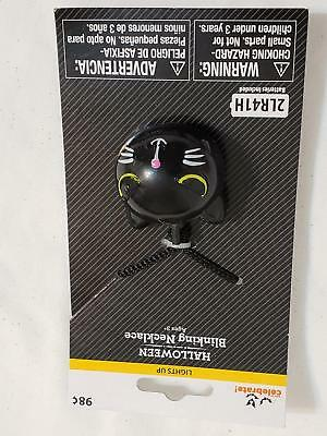 Black Cat Halloween Blinking Necklace Costume Accessory New