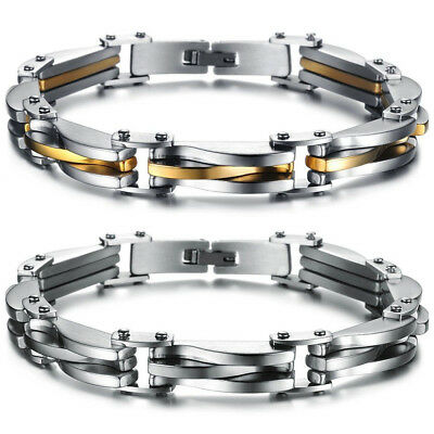 Two Tone Stainless Steel Men's Chain Link Bracelet Wristband Cuff Bangle 8.66""