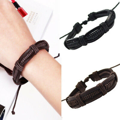 Fashion Women Men Punk Braided Genuine Leather Bracelet Jewelry Cuff Adjustable