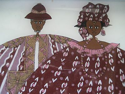 Senegal Senegalese West African Folk Art Reverse Glass Serving Tray Couple