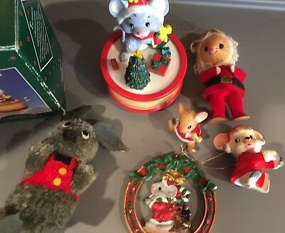 Set Of 7 Assorted Mice Mouse Ornaments And Decorations, Music Box