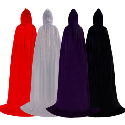 Cloak Long Sorcerer Witch Prince Princess Velvet Cape Halloween Dress Costume