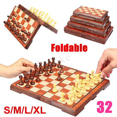 Large Wooden Chess Set Travel Folding Chessboard Magnetic Pieces Board Craft