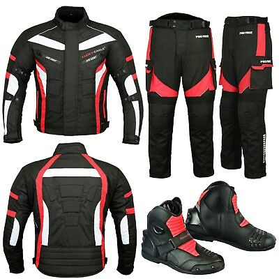 Red Motorcycle Motorbike Racing Jacket Trouser Biker Suit Riding Leather Boot CE