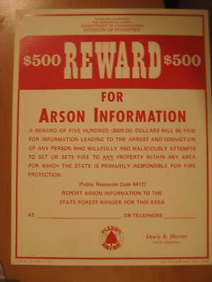 Old Division of Forestry (CDF) Reward for Arson poster